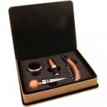 Leatherette 4 Piece Wine Tool Set -Light Brown Wine Gifts