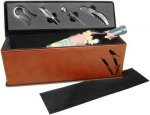 Leatherette Single Wine Box with Tools -Rawhide Wine Gifts